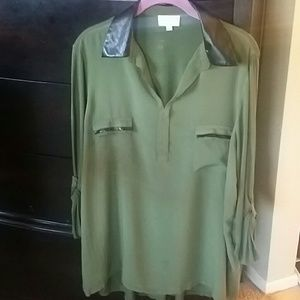 Olive green blouse w/ faux leather accent.